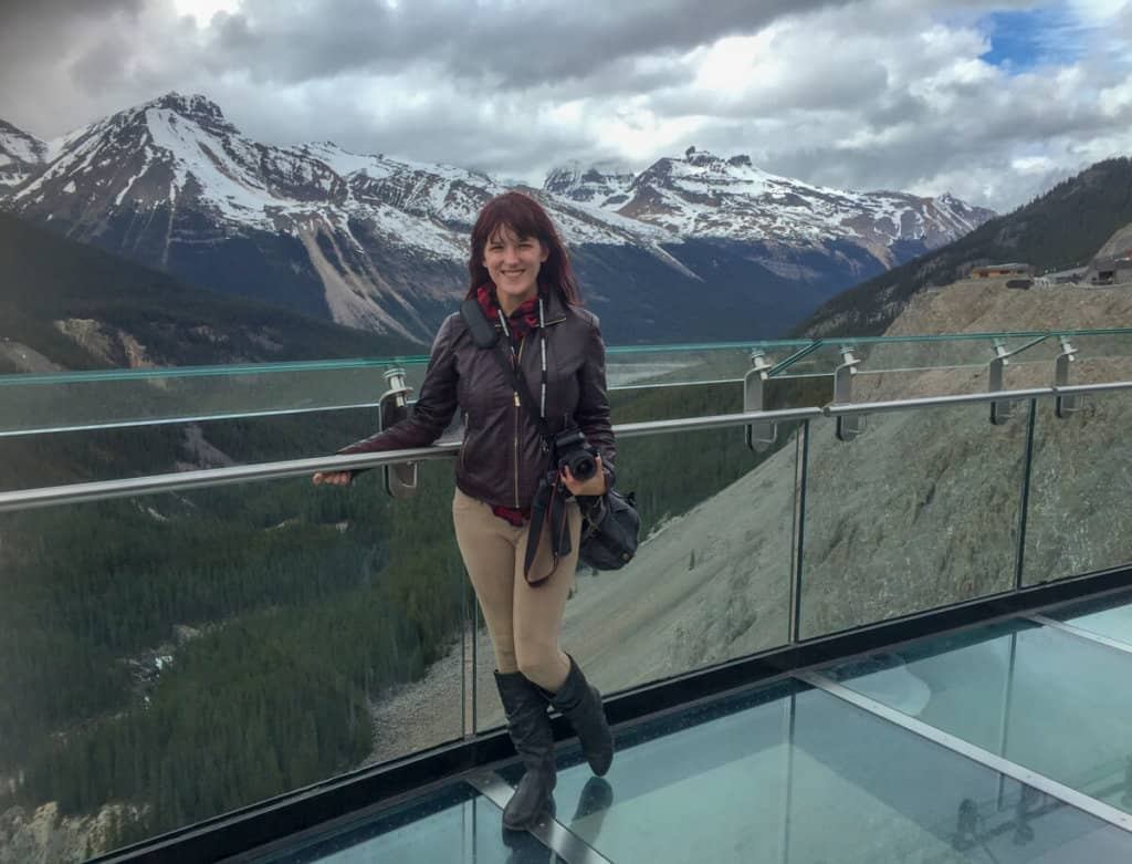 lora on glacier skywalk in jasper national park