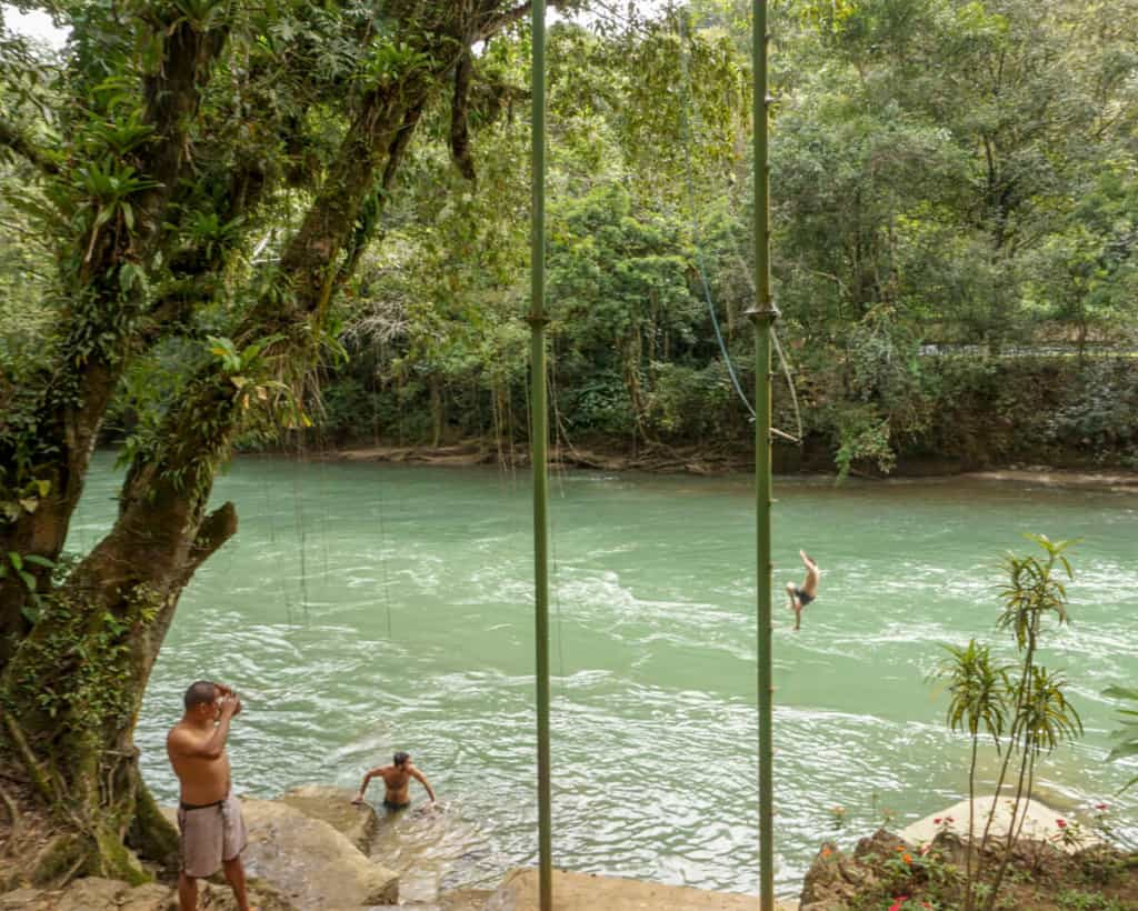 Rope swing near Semuc Champey
