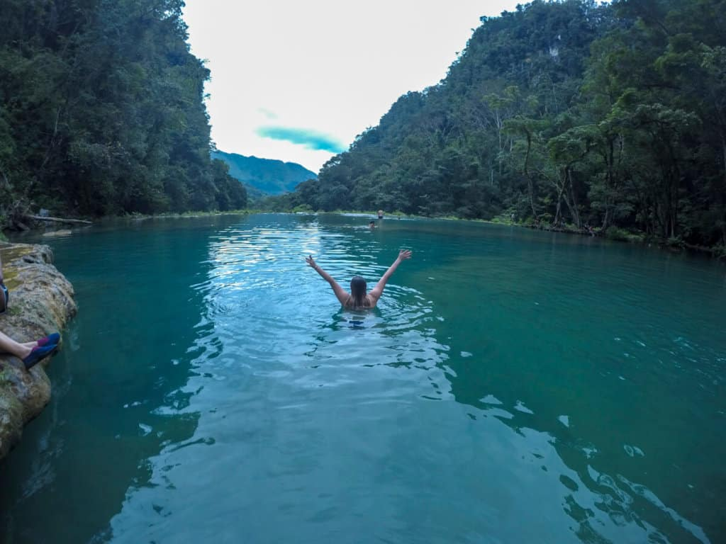 Swimming in the pools of Semuc Champey