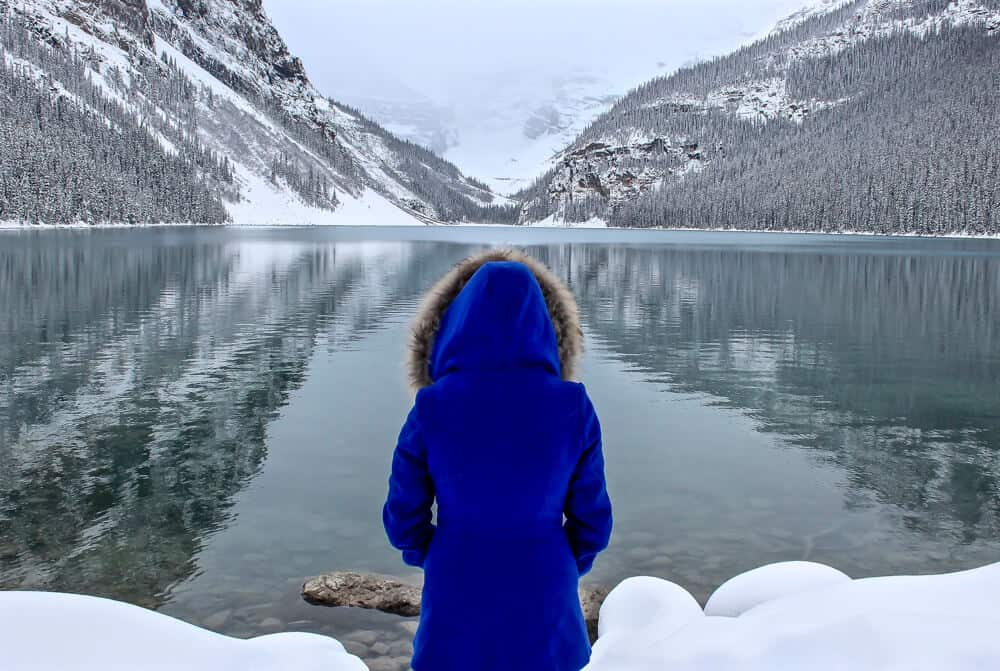 Lake louise is one of the best stops on an alberta road trip