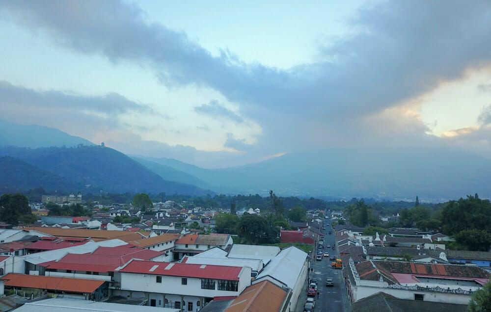 view of Antigua, Guatemala from tropicana hostel
