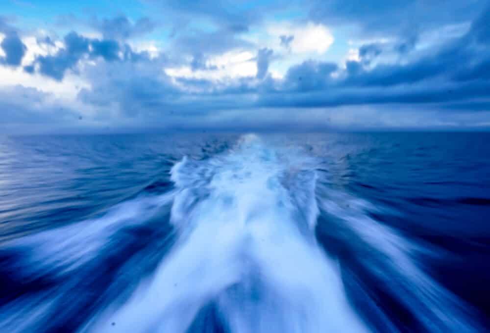 Boat ride to the dive island of Utila, Honduras