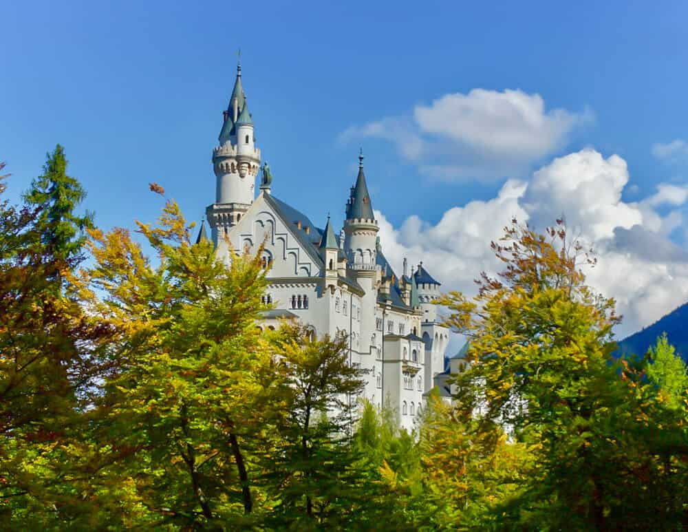 Neuschwanstein castle with fall colors