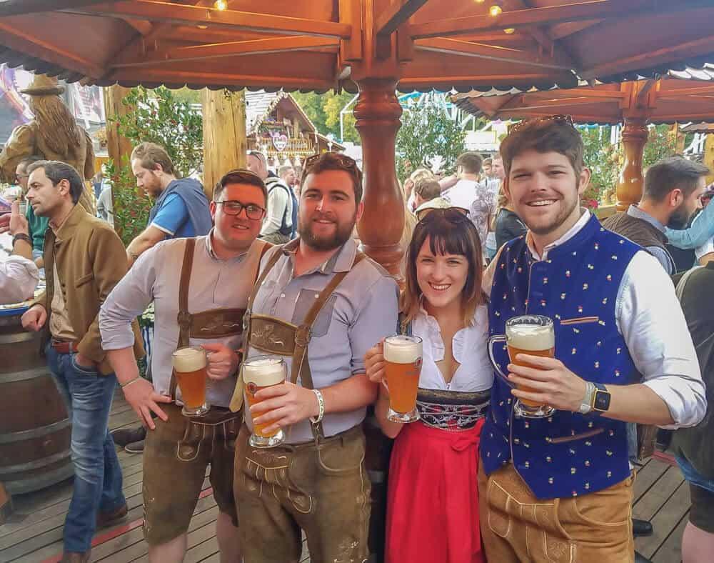 lora with friends at oktoberfest