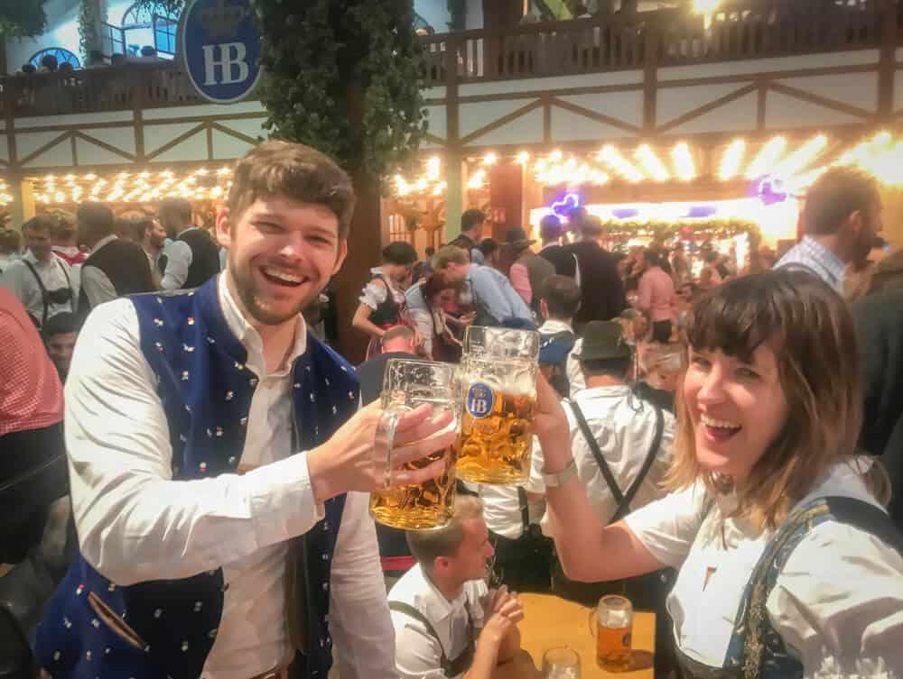 drinking beer at oktoberfest munich