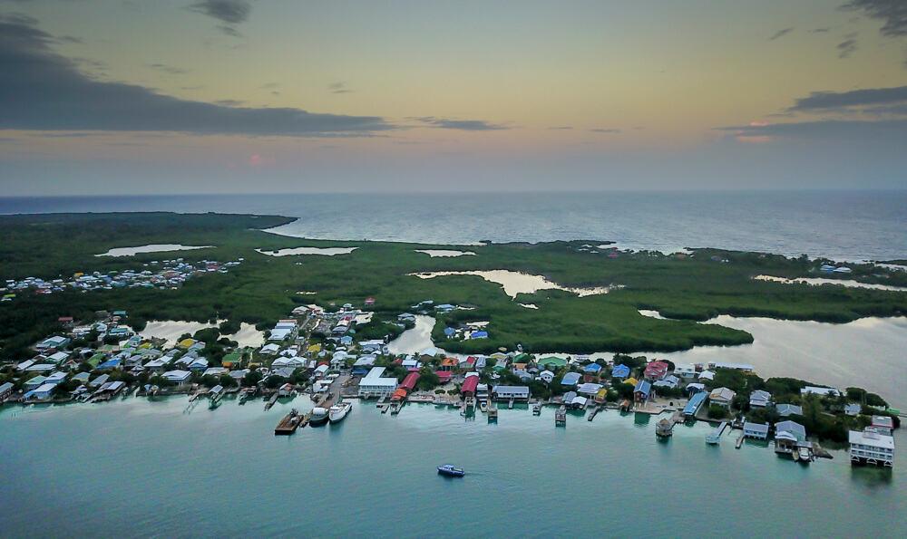 Aerial view of the dive island of Utila, Honduras
