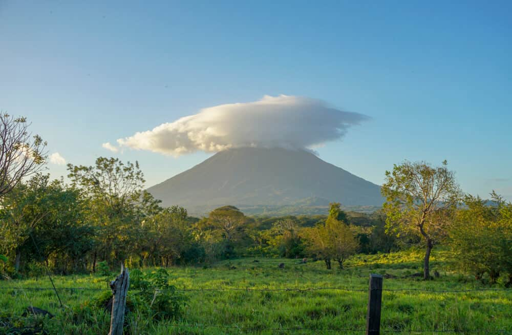 One of the two volcanoes in the tropical island of Ometepe, Nicaragua