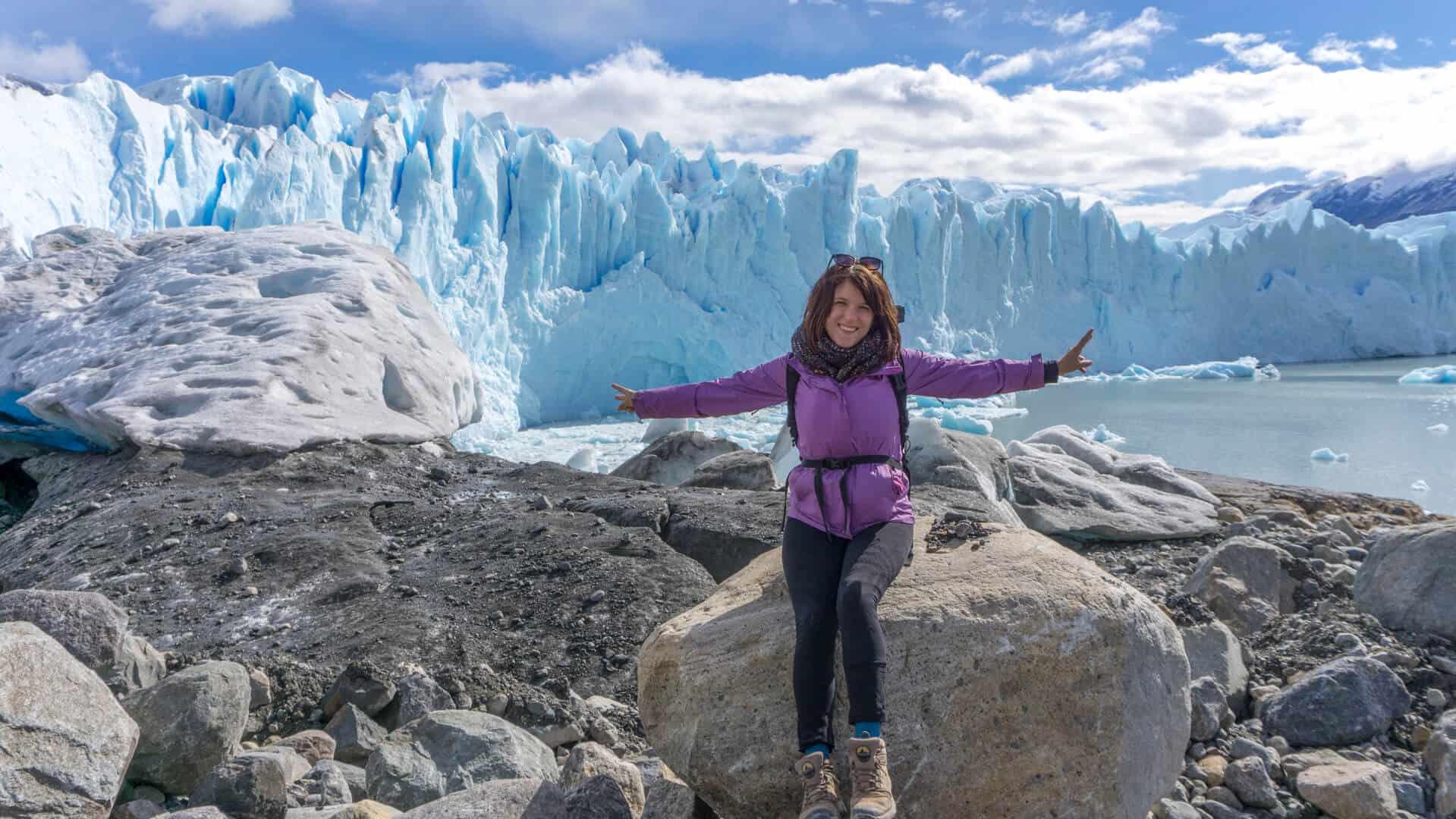 lora In front of Perito Moreno Glacier