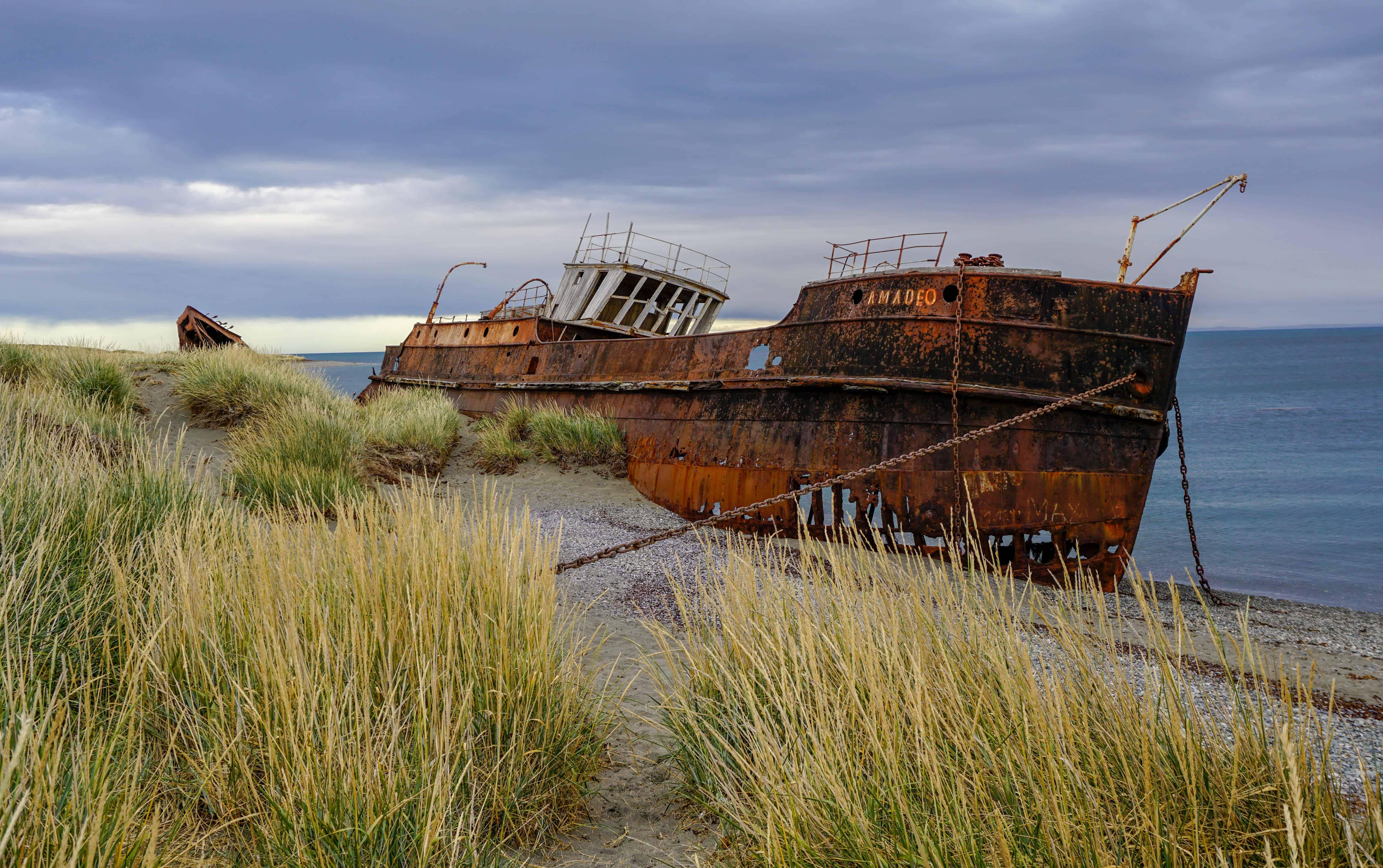 Old ship wreck near Punta Arenas