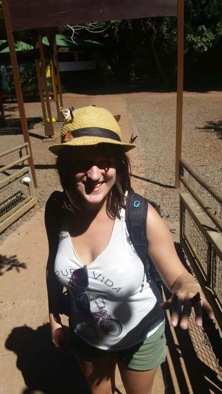 butterflies on my hat at Iguazu