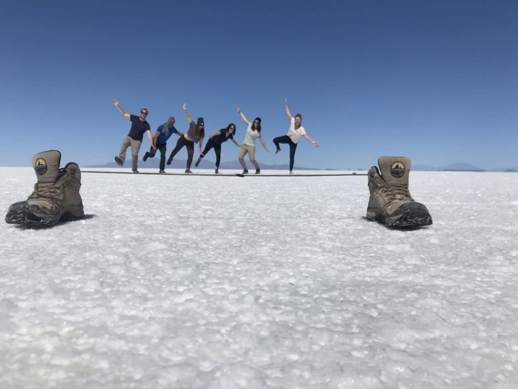 taking perspective photos on a bolivia salt flats tour