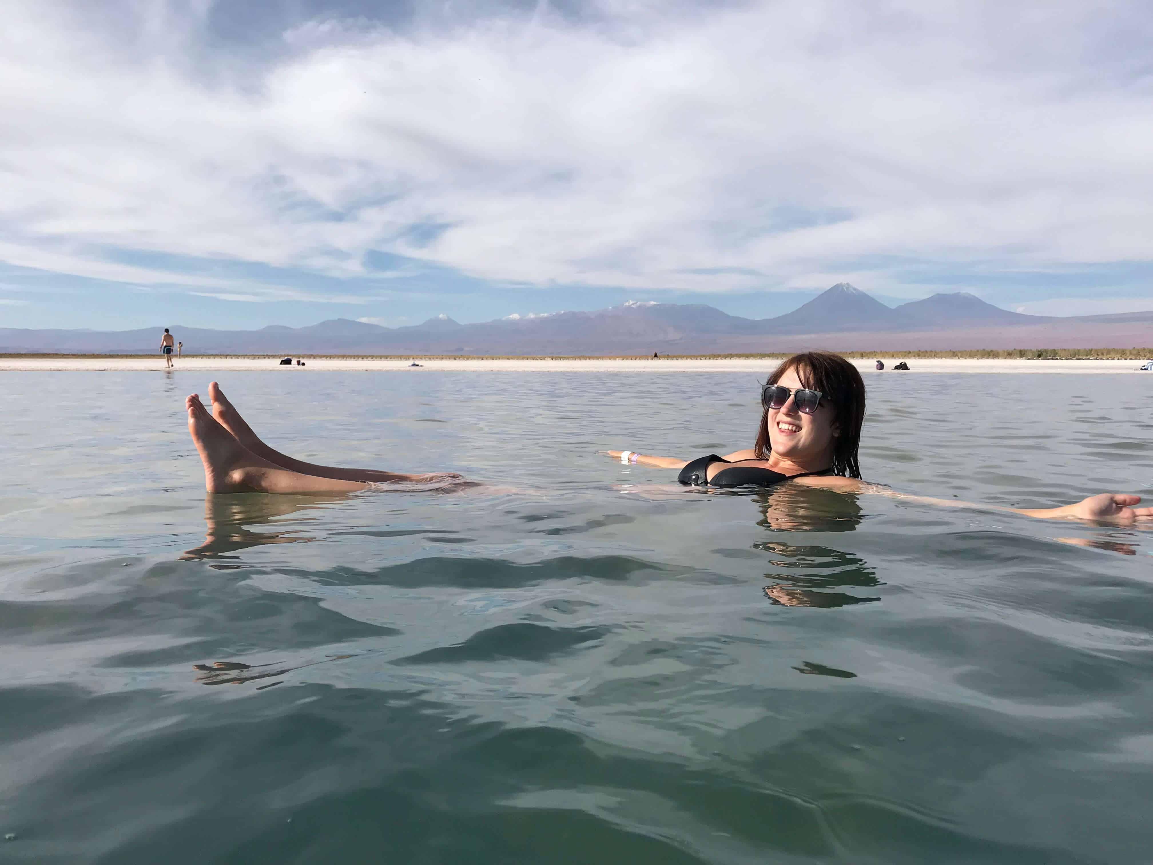 Lora floating in a lagoon in San Pedro de Atacama
