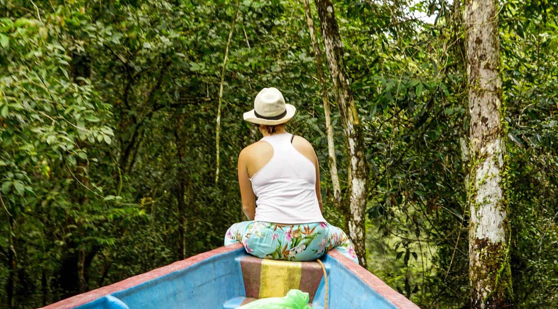 Lora on a boat in the Amazon