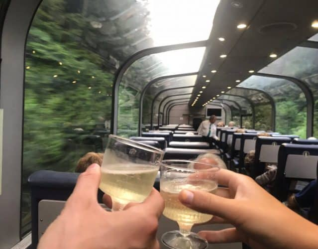Champagne toast on the train across Canada