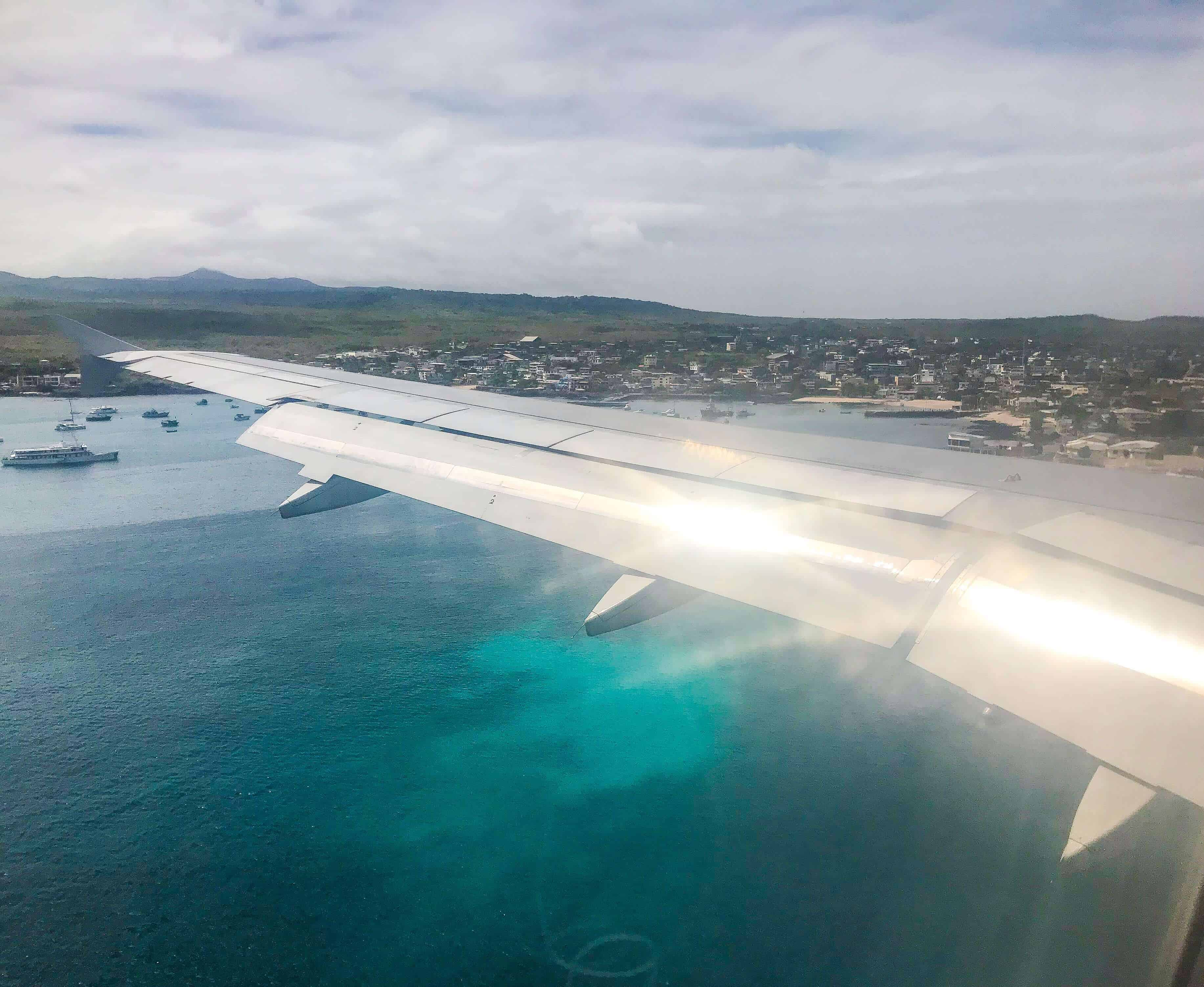 View from the plane descending on the Galapagos