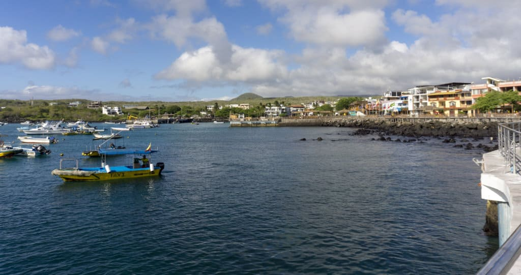 View of San Cristobal from the water, the largest island in the Galapagos