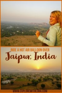 A hot air balloon ride is one of the best ways to see the beautiful landscape surrounding Jaipur, India. Find out how to book a hot air balloon ride for your trip to India. #India #Jaipur