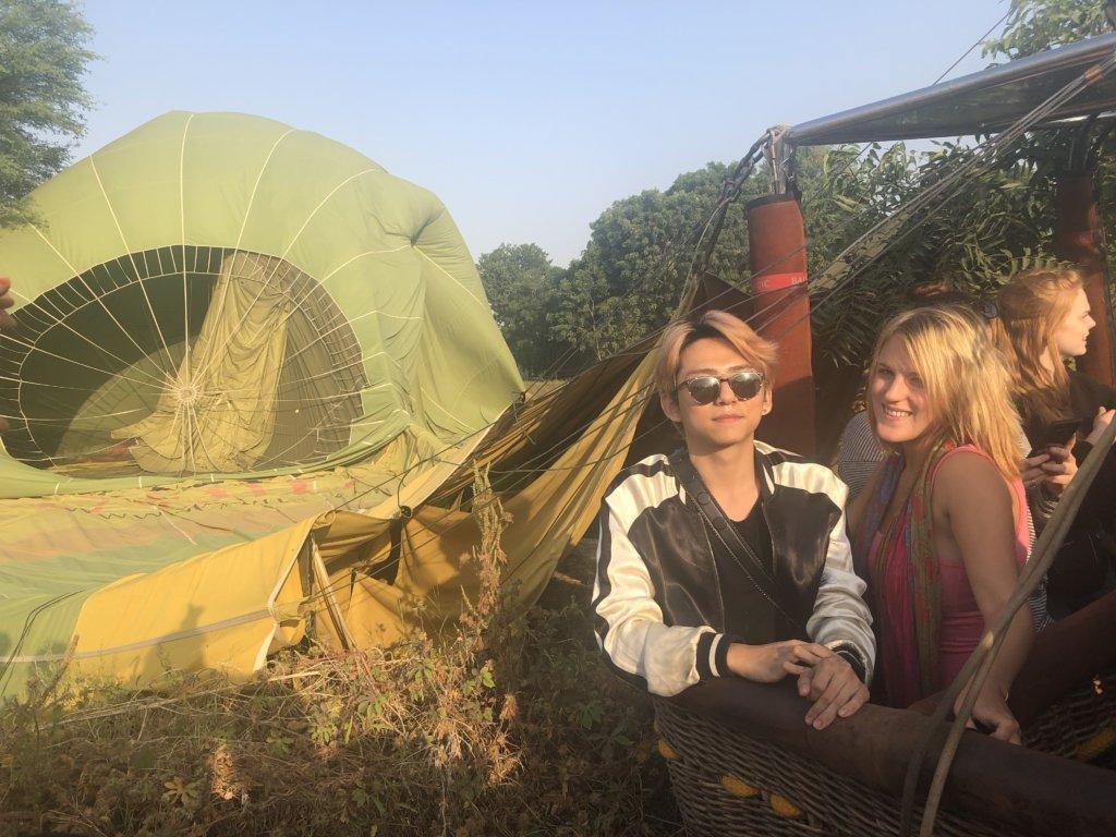 landing on a hot air balloon ride over Jaipur