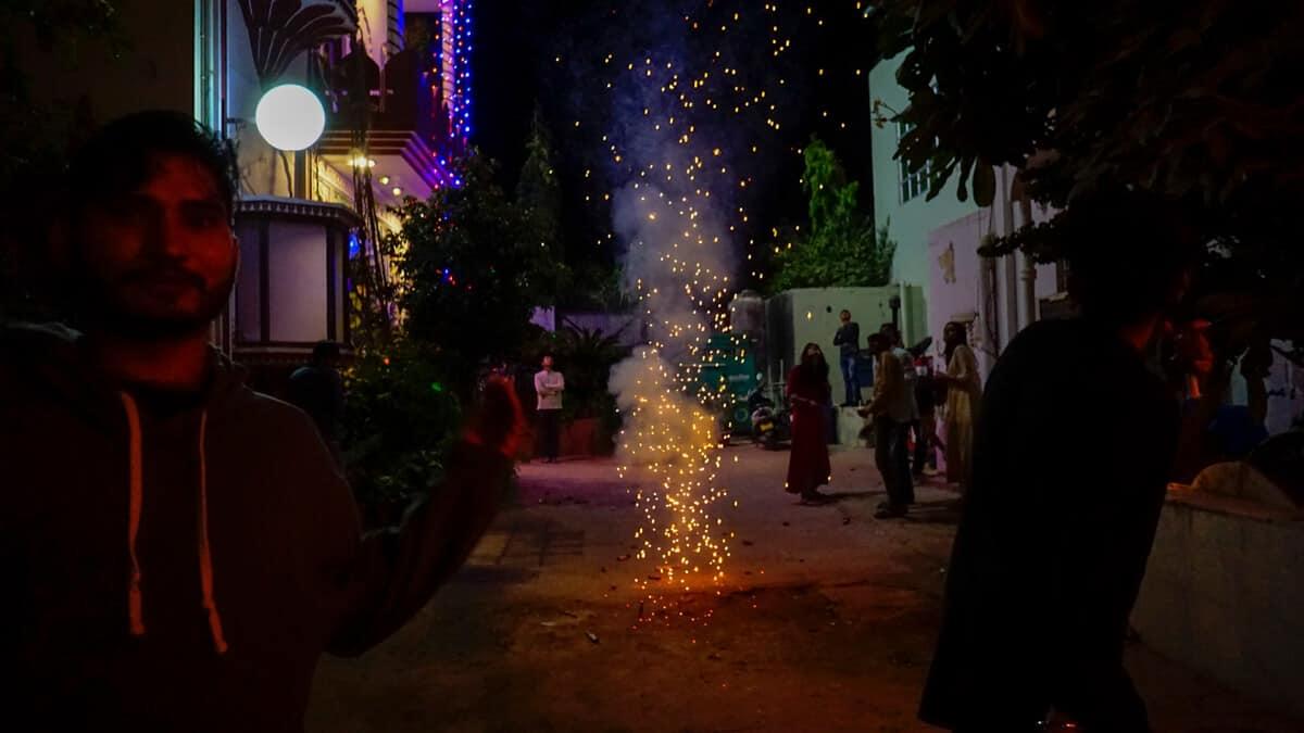 Shooting fireworks at Maspackers hostel in Pushkar during Diwali