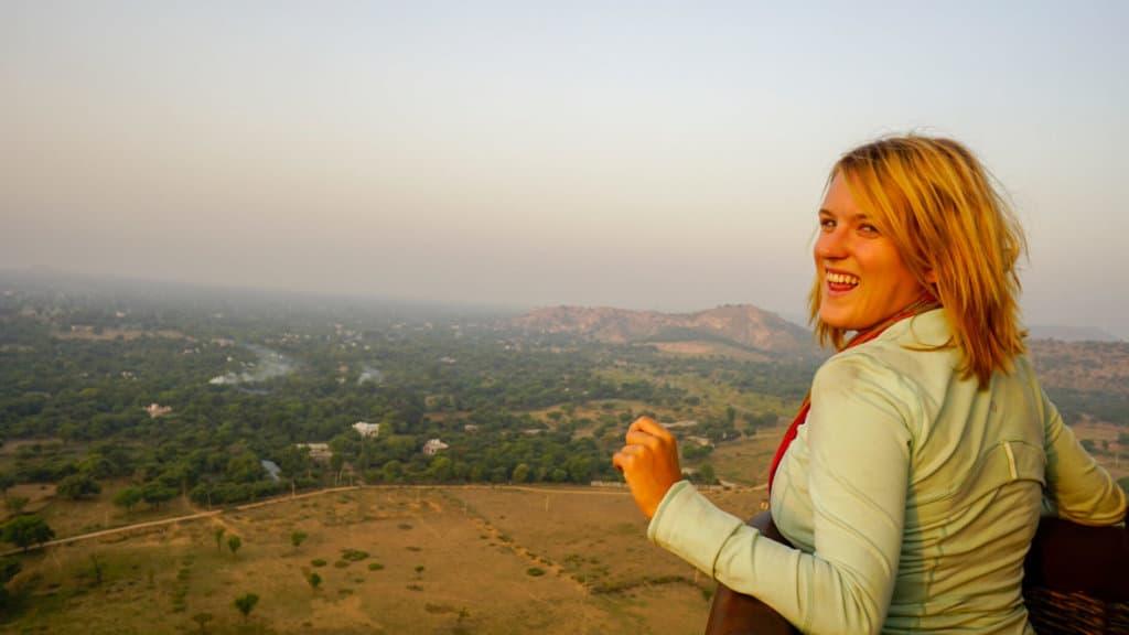Riding a hot air balloon over Jaipur