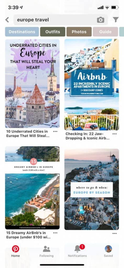 Pinterest curates beautiful content on the destinations you want to visit