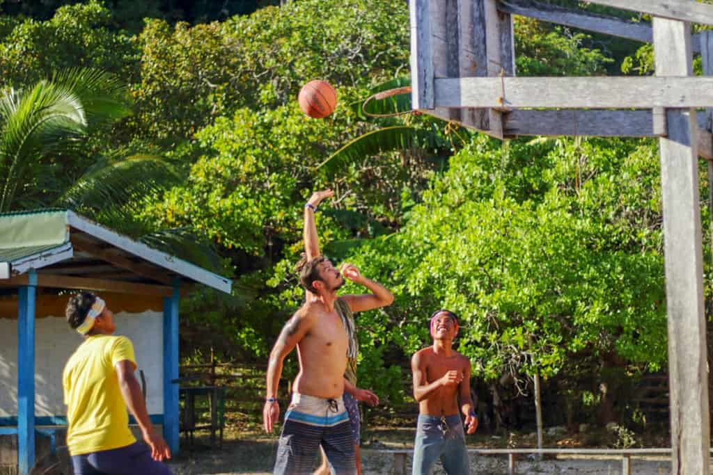 Playing basketball in a local village