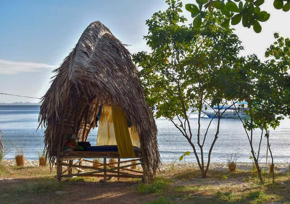 sleeping in bamboo huts overlooking the ocean