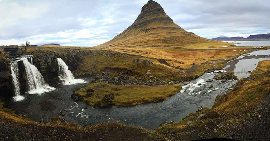 Kirkjufell falls in iceland