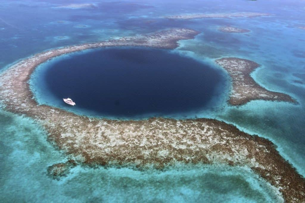 great blue hole in belize from above