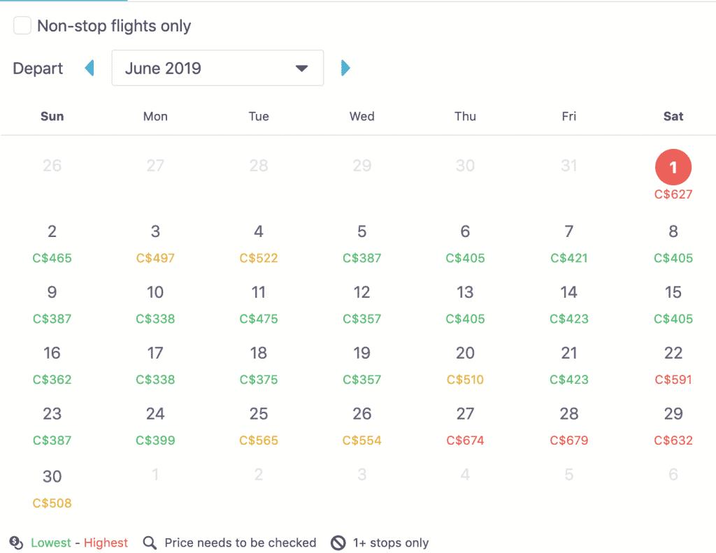 skyscanner calendar feature