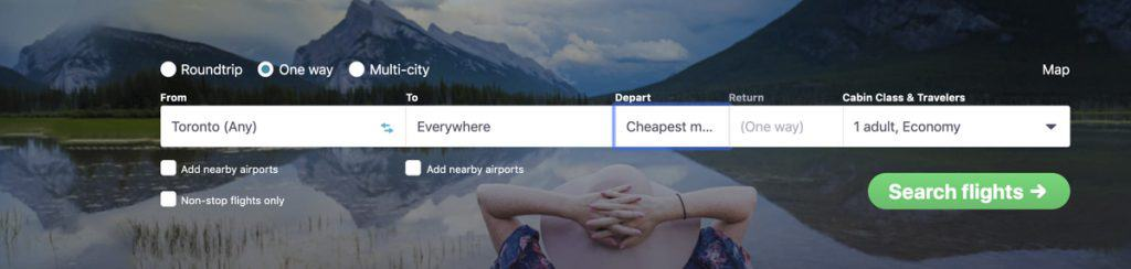 using skyscanner to find cheap flights