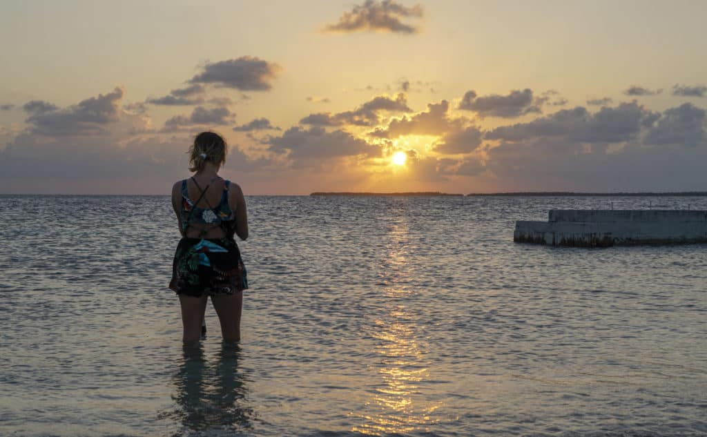 Sunset at Rendezvous Caye Belize