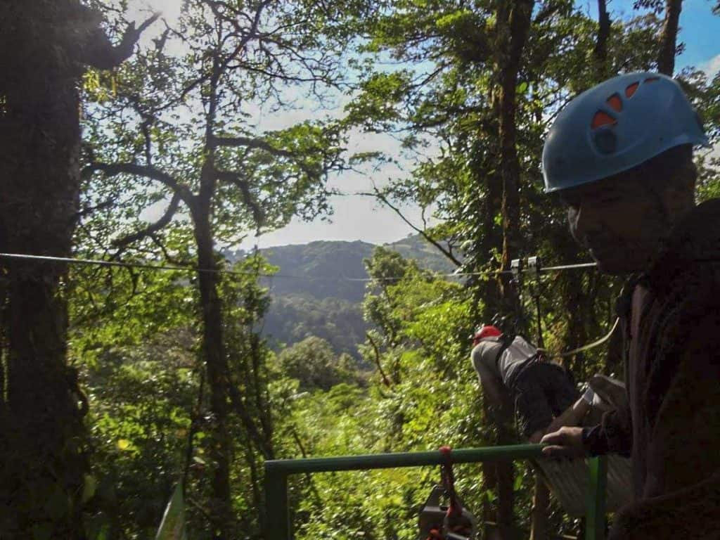 Zip-lining through the cloud forest of Monteverde