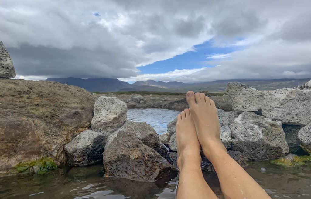 Soaking in hot pools in Iceland's Snaefellsnes Peninsula