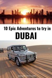 Pinterest pin of adventure activities in Dubai