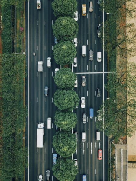 cars driving on highway