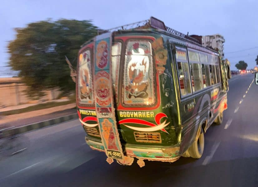 a local bus in Karachi