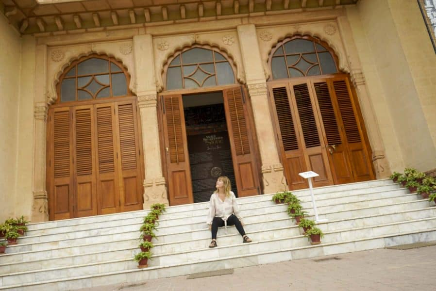 sitting outside mohatta palace in Karachi