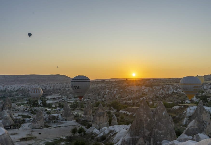 watching the hot air balloons at sunrise in Goreme