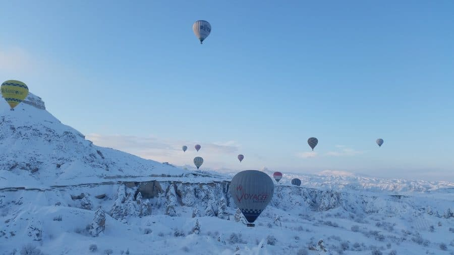 Balloons in flight over Cappadocia during the wintertime