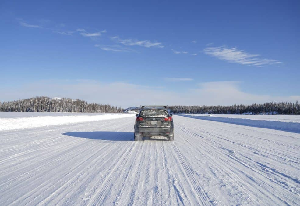 Driving on Dettah Ice Road during Winter in Yellowknife