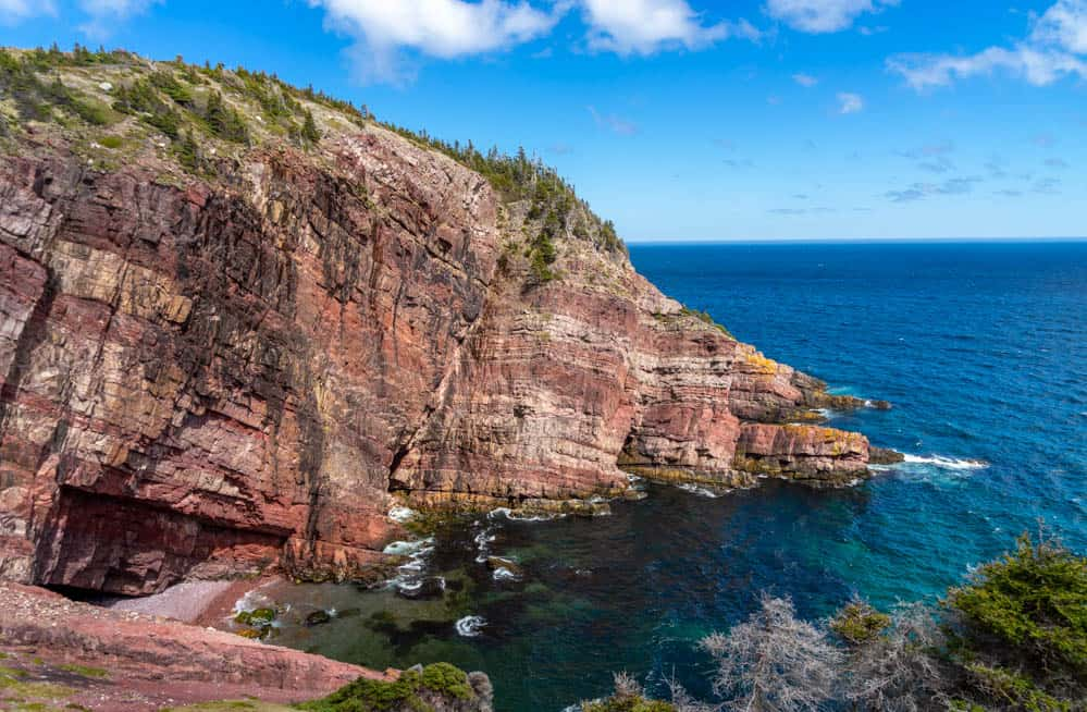 red cliffs on Mickeleens Path east coast trail