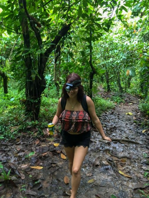 lora trekking through jungle