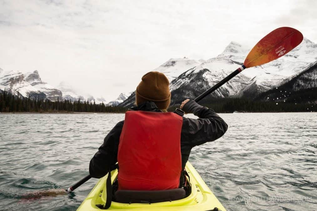 kayaking maligne lake in jasper alberta