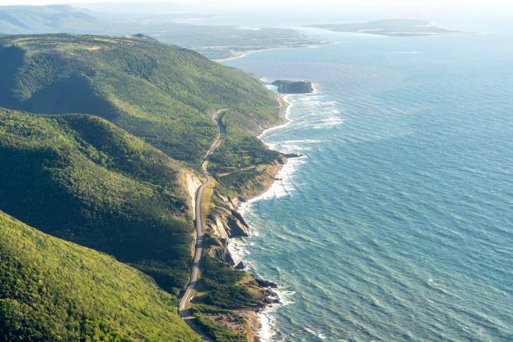 aerial view of the cabot trail