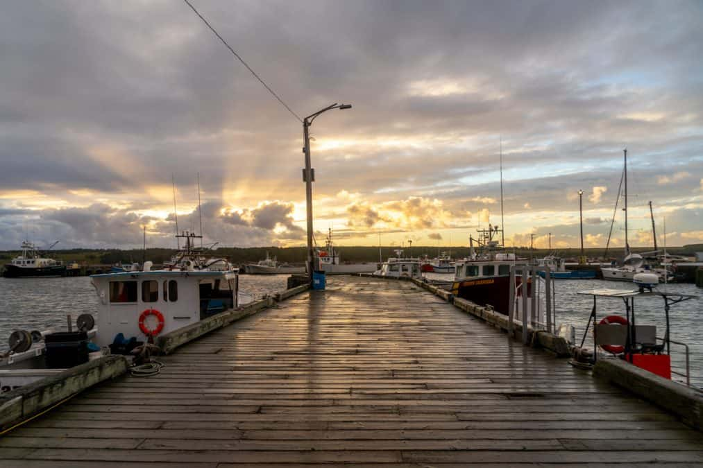 cheticamp harbour at sunset