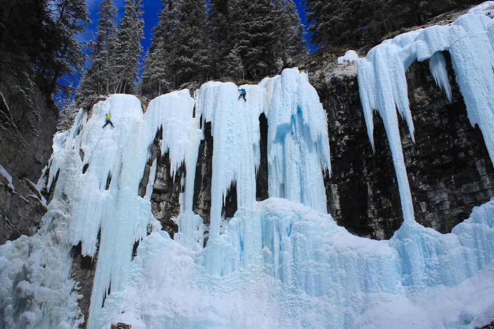 ice climbers in banff national park