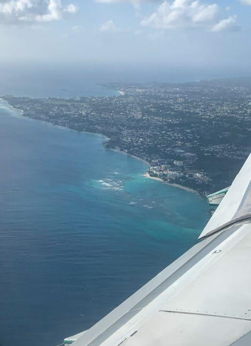 plane coming into barbados