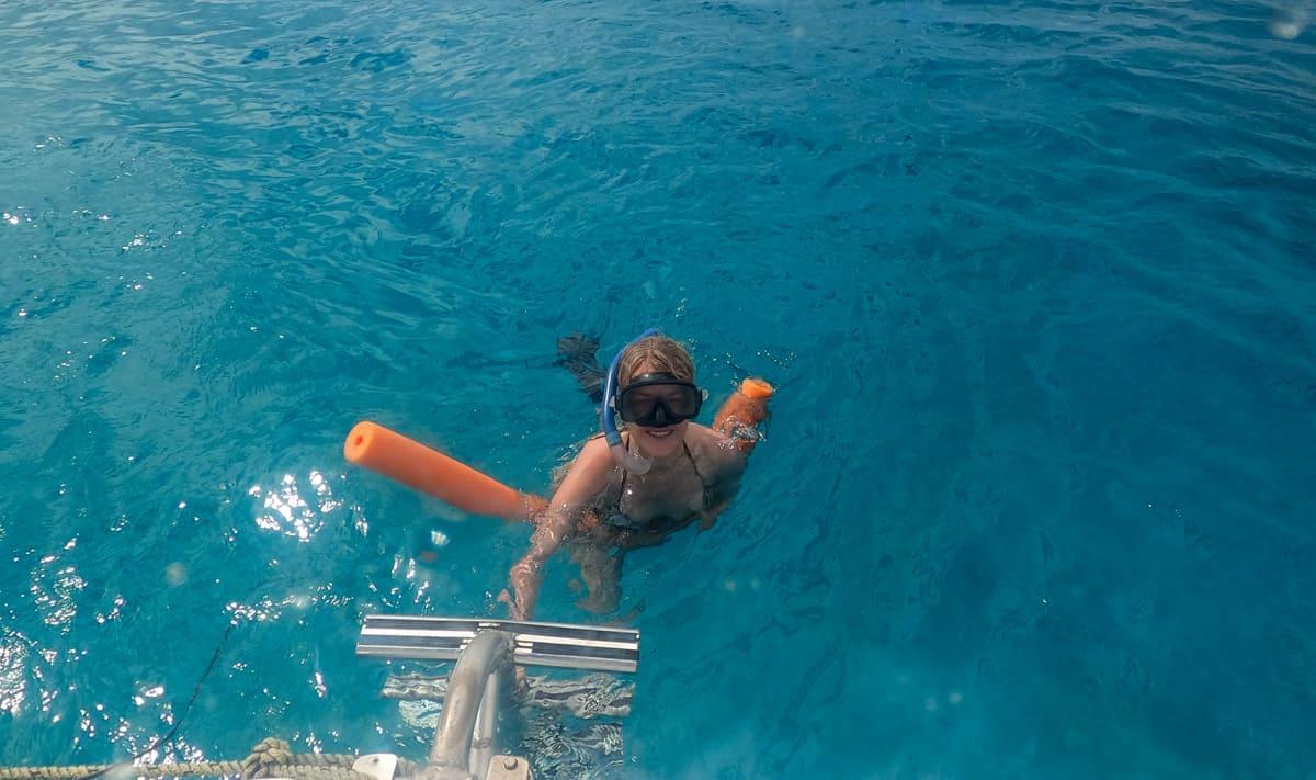 Snorkeling on a catamaran cruise in Barbados