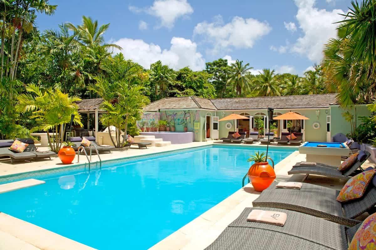 pool next to villa in barbados